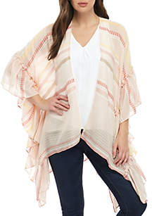 Collection XIIX Striped Ruffle Cover Up