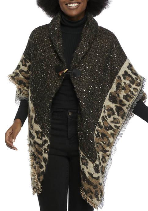 Collection XIIX Sequin Bouclé Leopard Border Toggle Topper