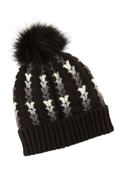 Shine Cable Beanie with Pom