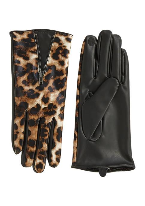 Leopard Zip Gloves