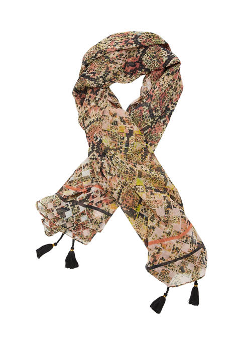 Collection XIIX Snake Print Tassel Scarf