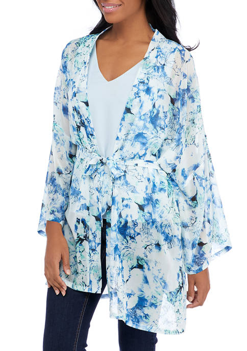 Collection XIIX Womens Floral Belted Kimono