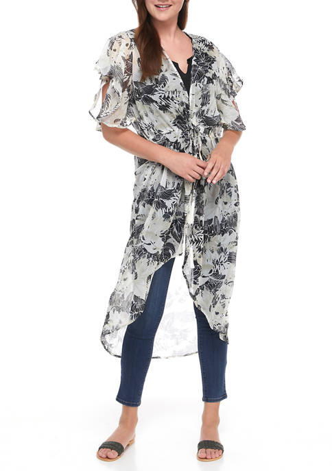 Collection XIIX Womens Ditsy Floral Flutter Kimono
