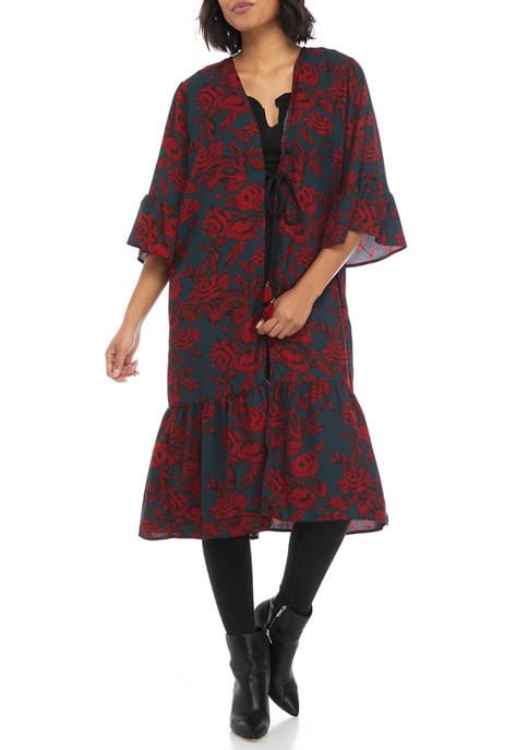 Collection XIIX Dark Floral Ruffle Kimono