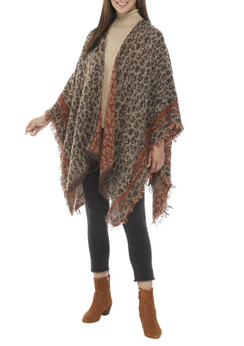 Collection XIIX Sequin Leopard Print Topper