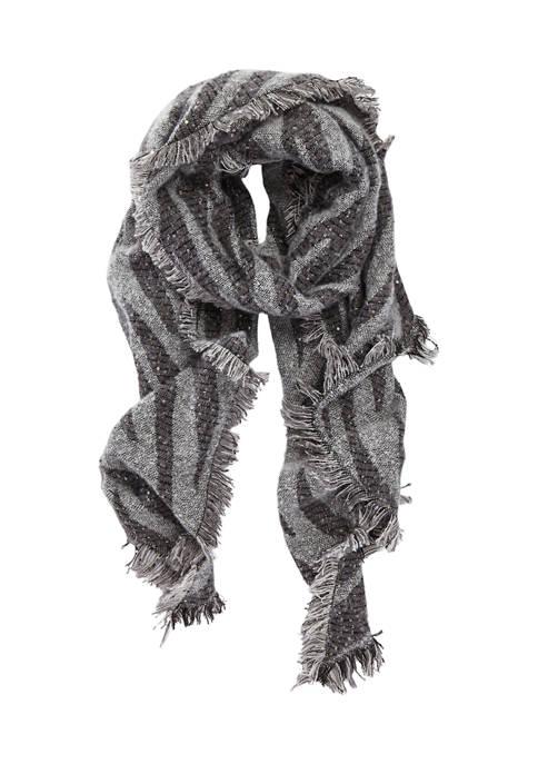Collection XIIX Shine Gray Zebra Blanket Scarf