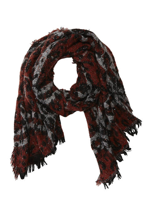 Collection XIIX Shine Leopard Plaid Blanket Scarf