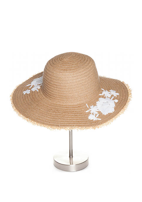 Straw Hat with White Embroidery
