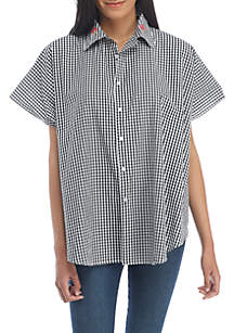 Embroidered Gingham Button Up Wrap