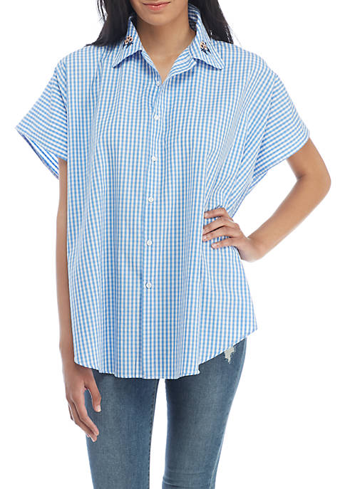 Collection XIIX Embroidered Gingham Button Up Wrap