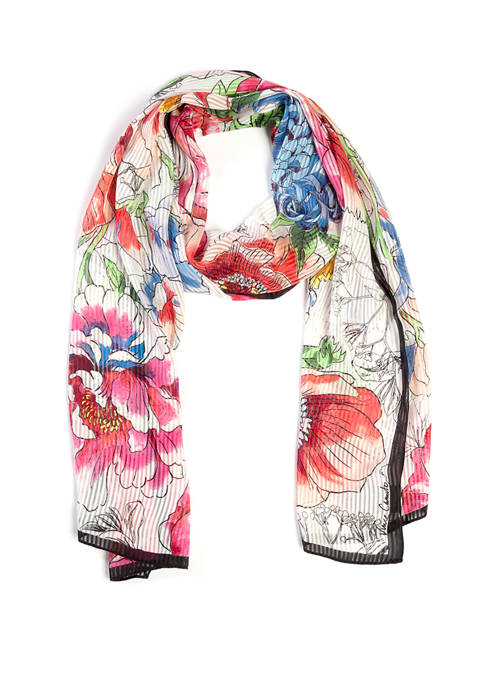 Accessory Street Blowup Flowers Oblong Scarf