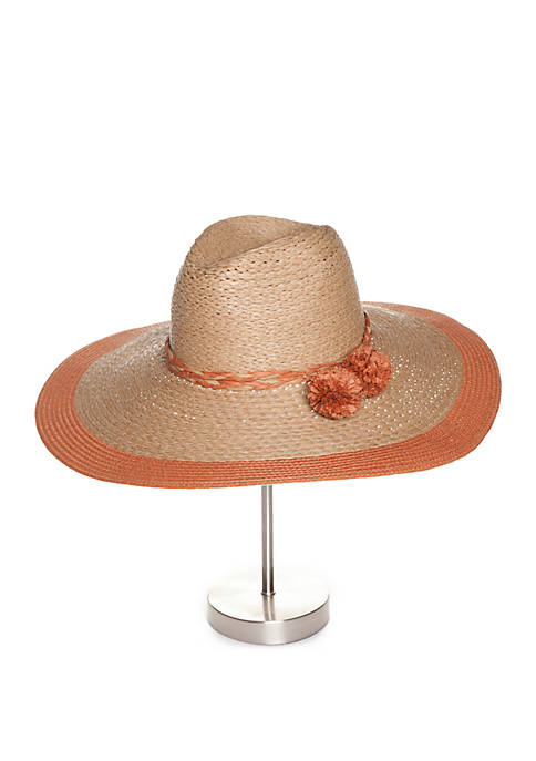 59a0242901436 Collection XIIX Floppy Straw Hat with Pom Poms