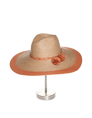 fc1746b27a5 Collection XIIX. Collection XIIX Floppy Straw Hat with Pom Poms