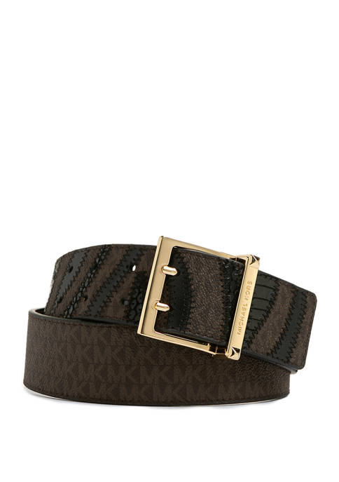 Michael Kors 42 Millimeter Zebra Belt with Logo