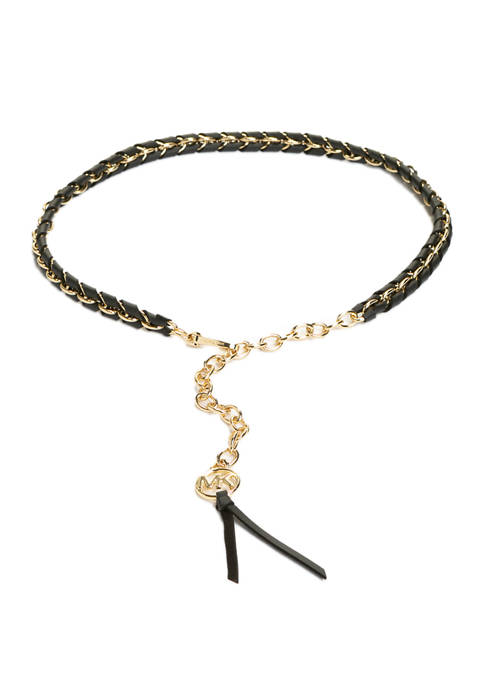 Michael Kors Woven Leather Chain Belt