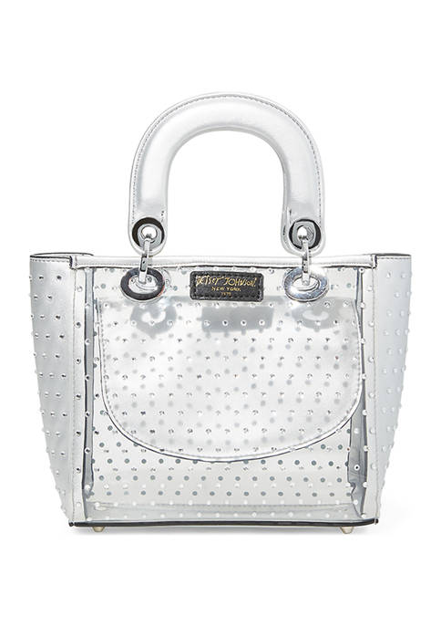 Betsey Johnson Clear Evening Bag with Rhinestone Detail