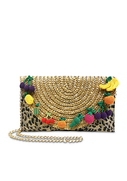 Betsey Johnson Leopard Pom Clutch