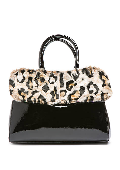 Betsey Johnson Satchel With Removable Faux Fur Collar