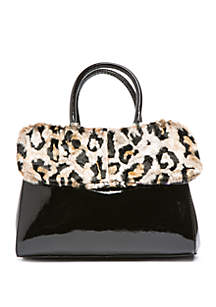 Satchel With Removable Faux Fur Collar