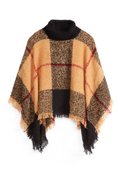 New Directions® Womens Boucle Plaid Turtle Neck Poncho