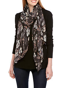 Sheer White Cherry Floral Print Scarf