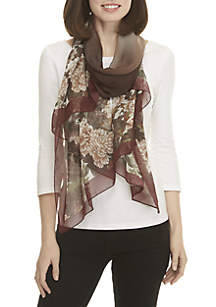 Sheer Cabbage Roses Floral Print Scarf