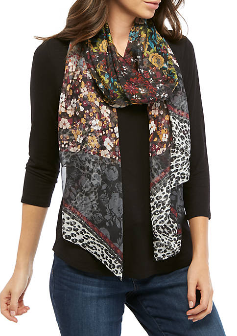 Cejon Floral Animal Border Scarf