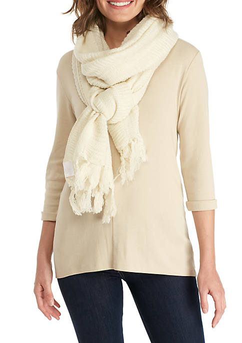 Solid Ruched Travel Scarf
