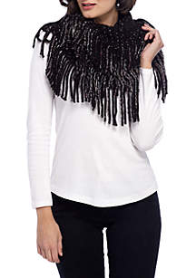 Caterpillar Fringe Striped Infinity Scarf