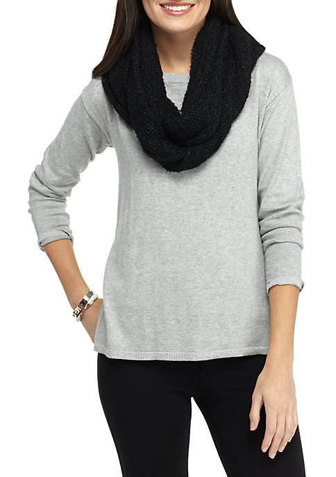 Stretchy Solid Lurex® Boucle Infinity Scarf