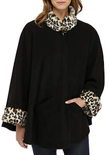 Leopard Fur Fleece Cape