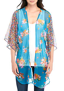 New Directions® Teal Floral Twin Print Topper