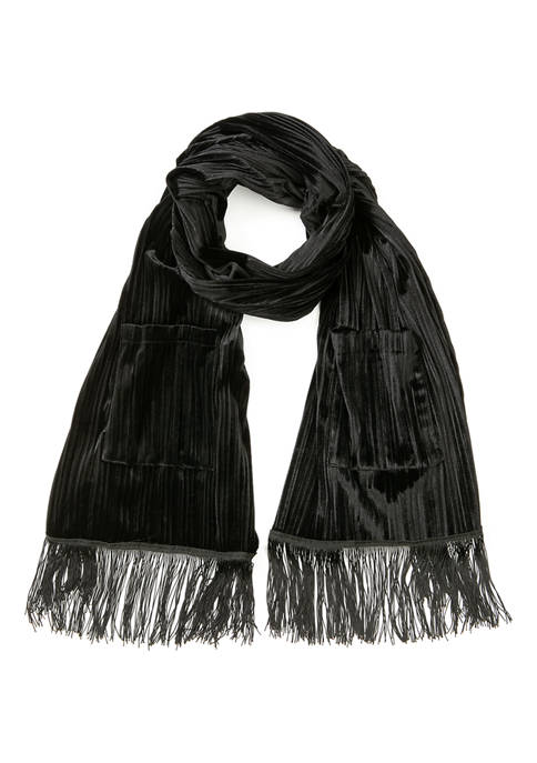 Cejon Velvet Scarf With Pocket