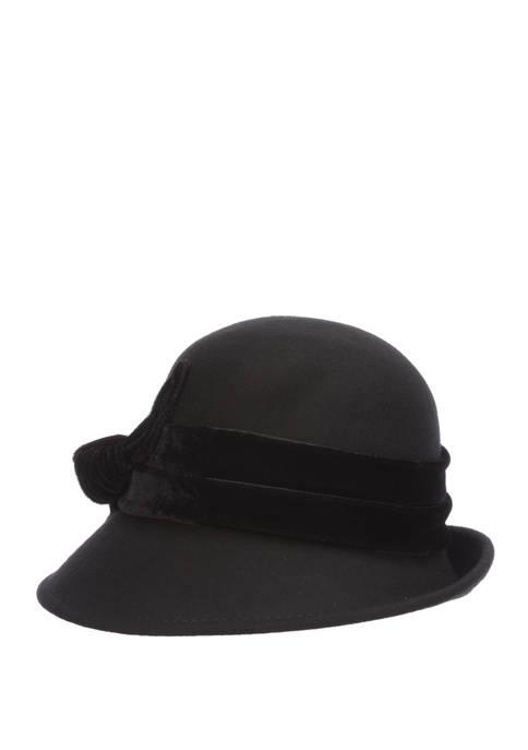 Dorfman Wool Felt Cloche Hat with Velvet Trim