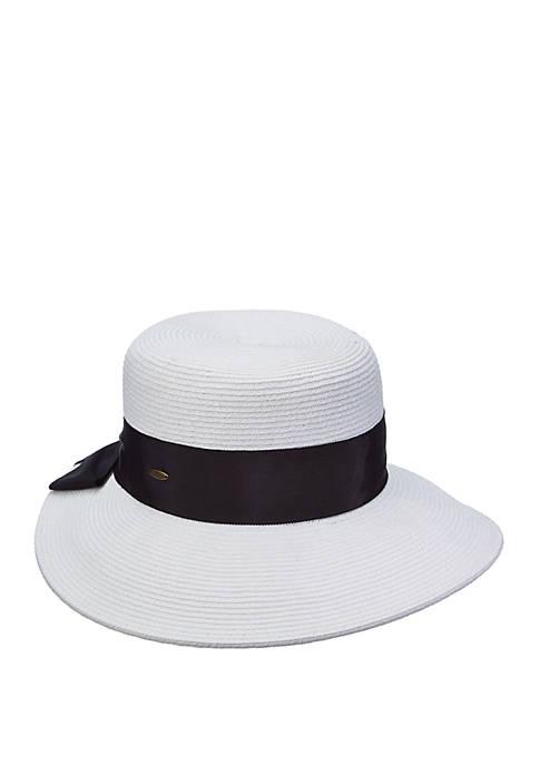 Dorfman Paper Braid Back Bow Hat
