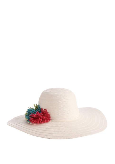 Dorfman Toyo Braided Paper Hat with Pom Poms