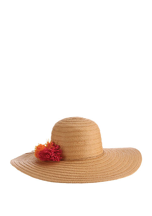 Dorfman Toyo Braided Paper Hat with Pom Poms