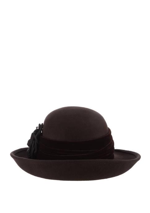 Dorfman Wool Felt Round Hat with Velvet Rose