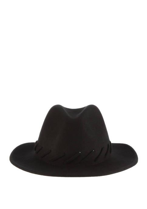 Dorfman Wool Felt Safari Hat with Whipstitch Detail