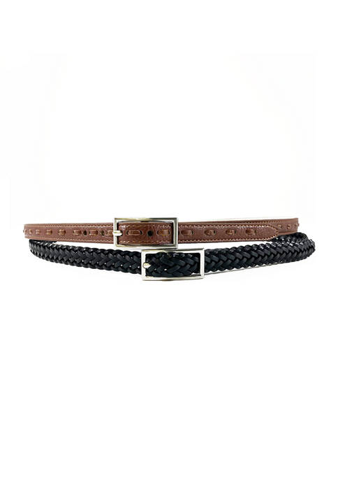 New Directions® Black Braid and Brown Laced Belt