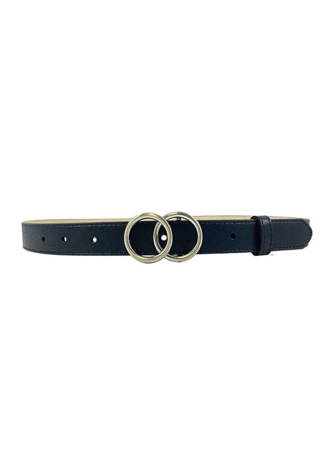 New Directions® Double Circle Plaque Buckle Belt