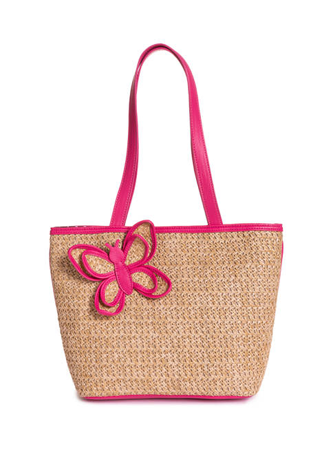 Kim Rogers® Straw Butterfly Tote