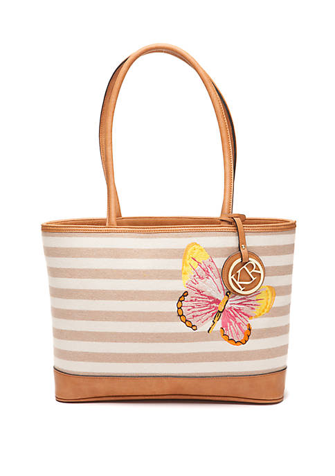 Kim Rogers® Canvas Striped Tote with Embroidered Butterfly