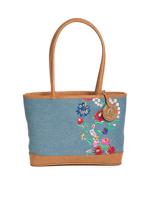 Kim Rogers® Denim Embroidered Tote