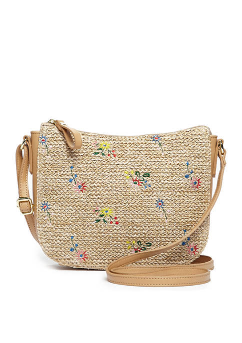 Embroidered Straw Crossbody