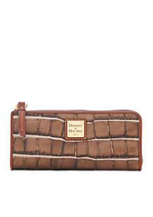 Croco Zip Clutch Wallet
