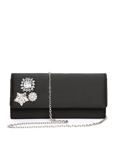 Fiona Satin Clutch with Brooches