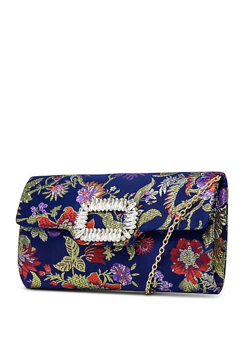 Mundi Lydia Flap Floral Clutch Bag with Rhinestone