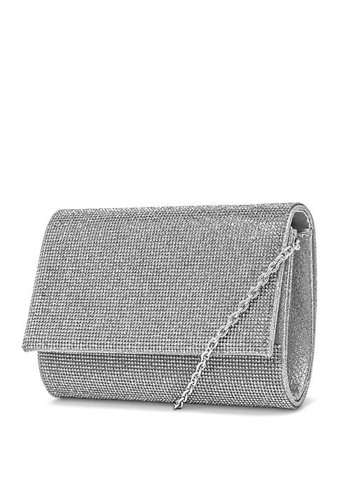 JESSICA MCCLINTOCK Alexis Flap Micro Rhinestone Clutch Bag