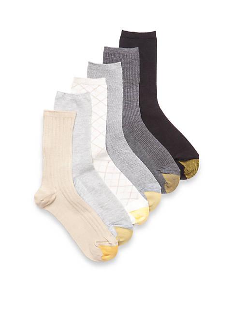 Casual Texture Crew Socks - 6 Pair